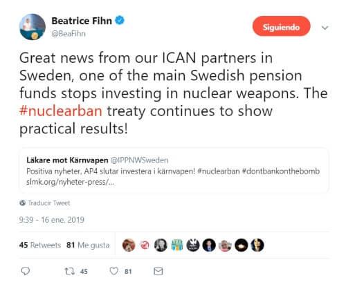 Tweet de Beatrice Fihn