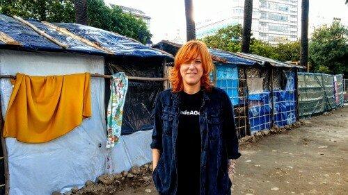 Sés junto a la reproducción del campo de refugiados de Acampa pola paz e o dereito a refuxio