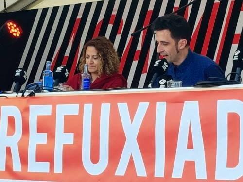 Jineth Bedoya entrevistada por Javier Gallego en el programa Carne Cruda en Acampa 2019 en A Coruña